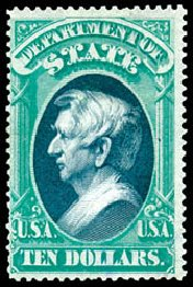 Costs of US Stamps Scott Cat. # O70 - 1873 US$10.00 State Official. Schuyler J. Rumsey Philatelic Auctions, Apr 2015, Sale 60, Lot 2578