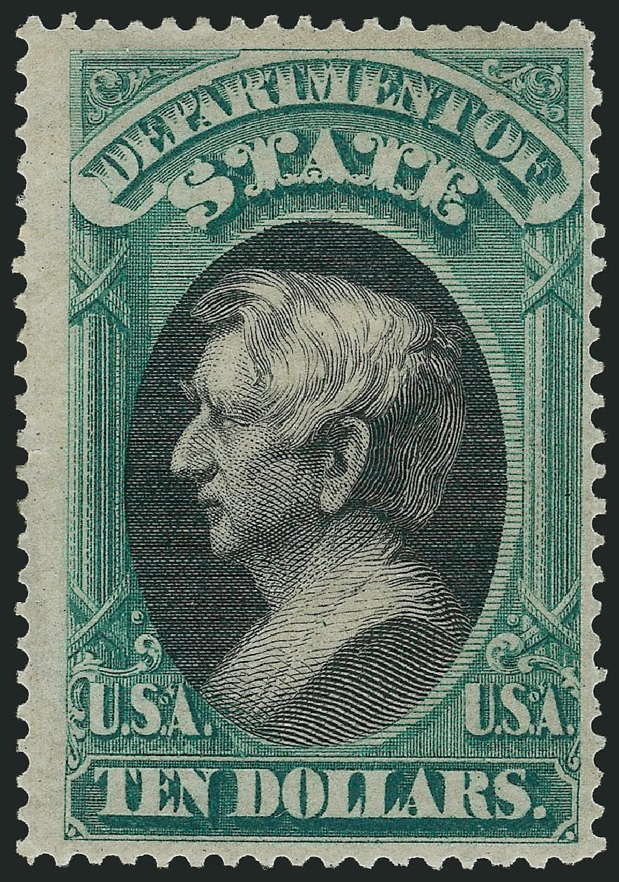 US Stamp Values Scott O70: 1873 US$10.00 State Official. Robert Siegel Auction Galleries, Apr 2015, Sale 1096, Lot 898