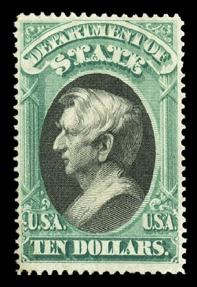 Price of US Stamps Scott Catalogue # O70 - US$10.00 1873 State Official. Cherrystone Auctions, Jul 2015, Sale 201507, Lot 2224