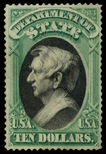 US Stamp Value Scott O70: US$10.00 1873 State Official. Daniel Kelleher Auctions, Oct 2014, Sale 660, Lot 2554