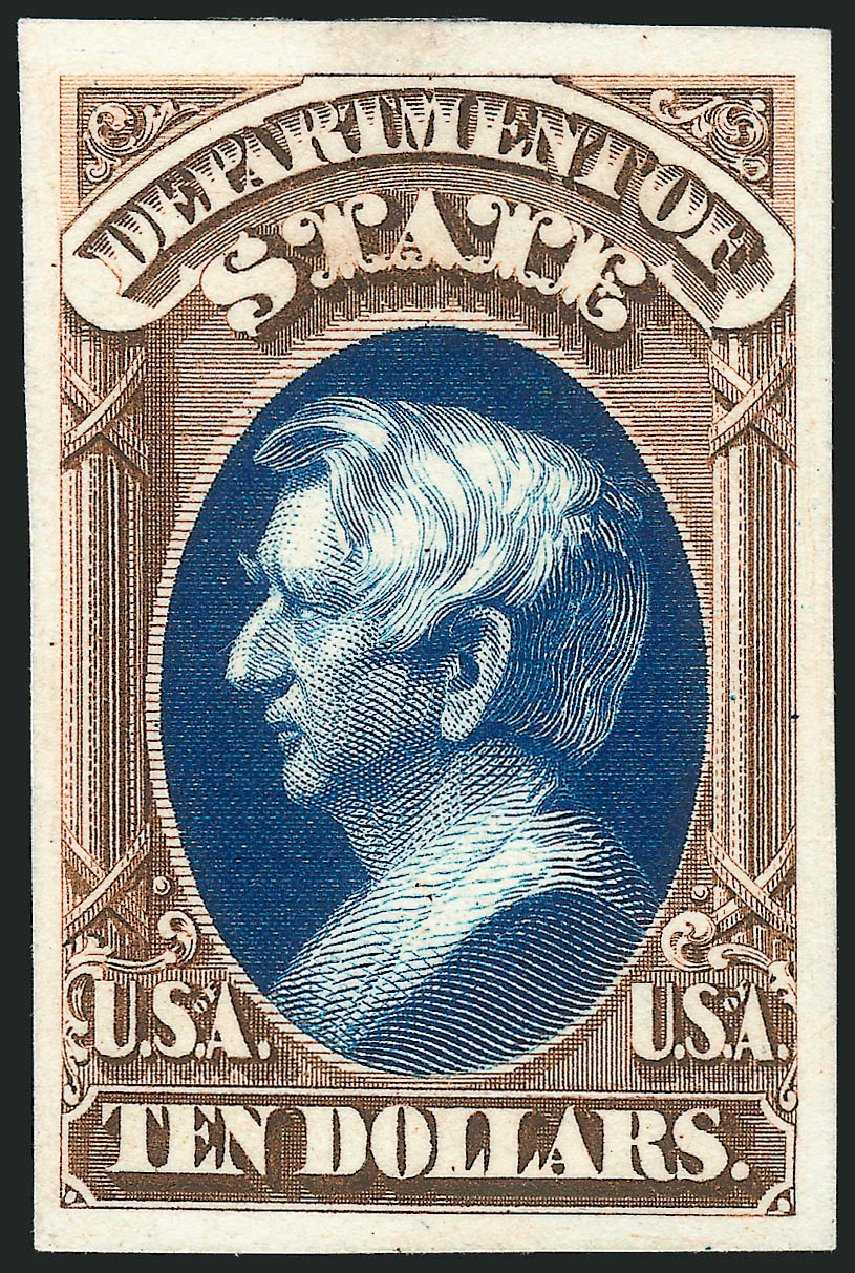 Costs of US Stamp Scott Catalog #O70: US$10.00 1873 State Official. Robert Siegel Auction Galleries, Oct 2014, Sale 1082, Lot 254