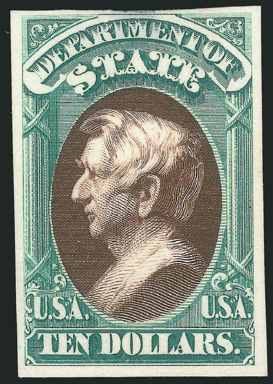 Value of US Stamp Scott Catalog # O70 - US$10.00 1873 State Official. Robert Siegel Auction Galleries, Oct 2014, Sale 1082, Lot 255
