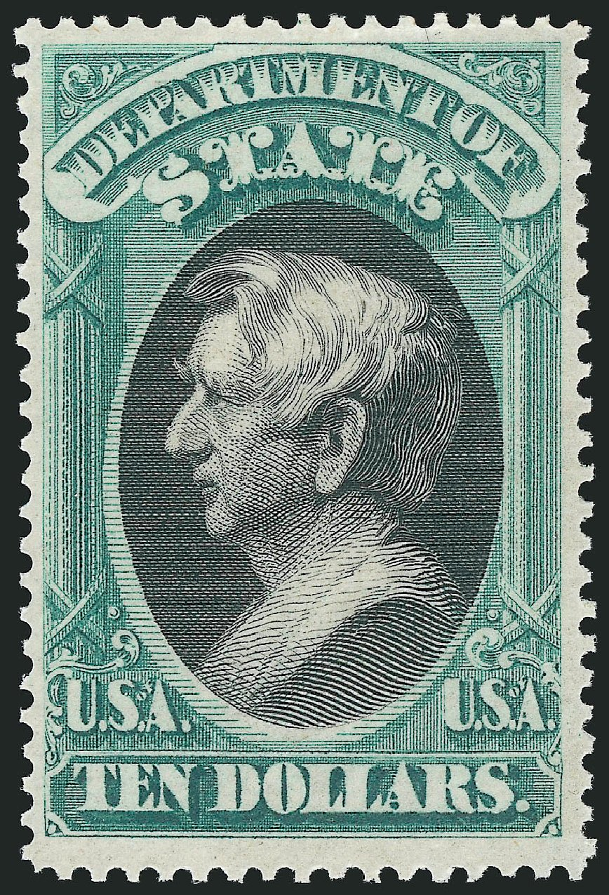 Costs of US Stamp Scott # O70: US$10.00 1873 State Official. Robert Siegel Auction Galleries, Nov 2014, Sale 1085, Lot 4105