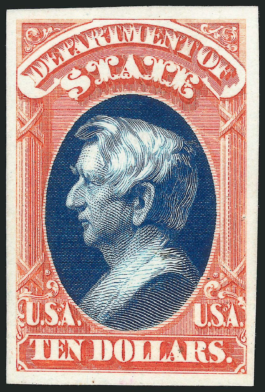 Costs of US Stamp Scott Catalogue #O70 - US$10.00 1873 State Official. Robert Siegel Auction Galleries, Oct 2014, Sale 1082, Lot 252