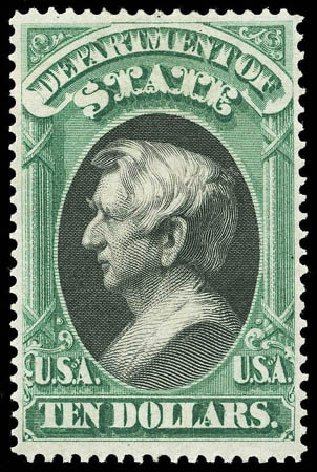 Values of US Stamp Scott Catalog #O70: US$10.00 1873 State Official. Matthew Bennett International, Apr 2008, Sale 326, Lot 693