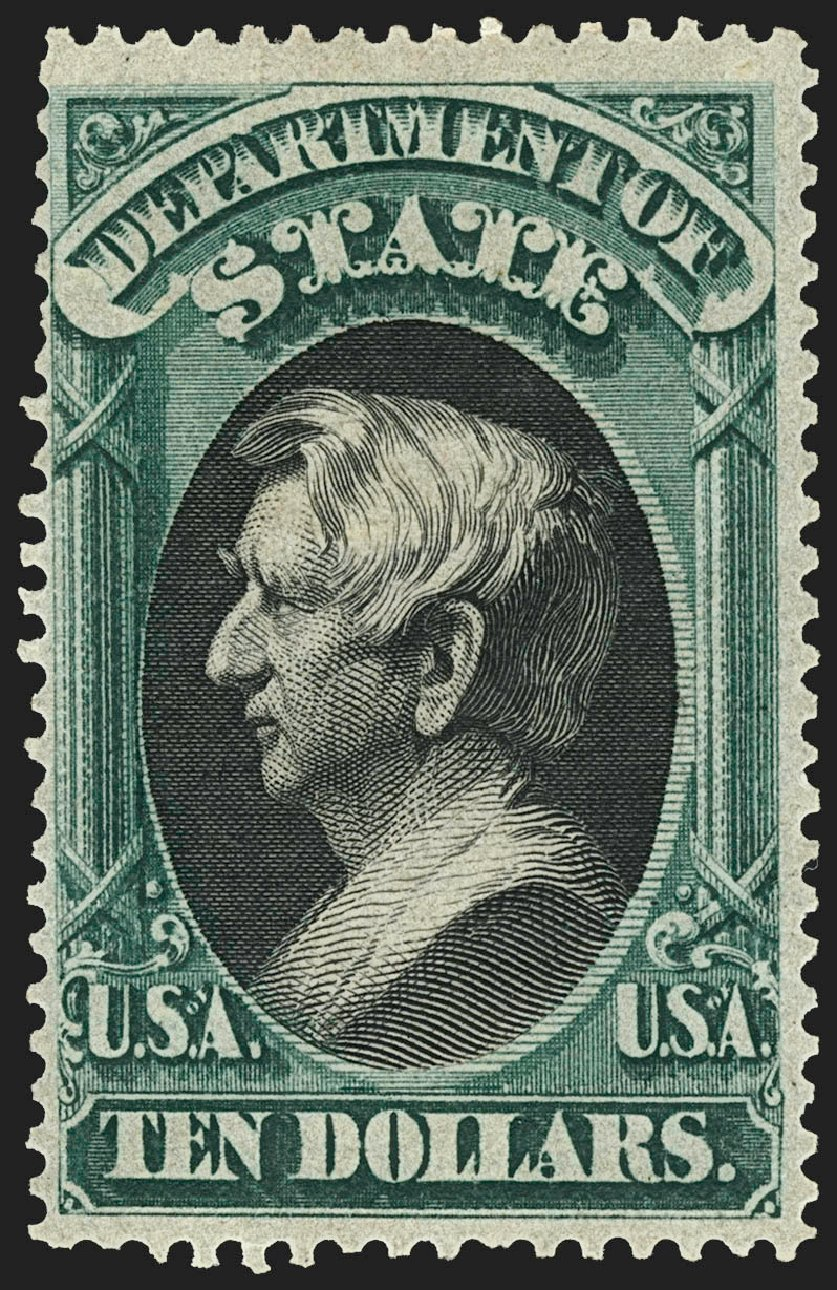 Cost of US Stamps Scott O70 - 1873 US$10.00 State Official. Robert Siegel Auction Galleries, Jul 2015, Sale 1107, Lot 623