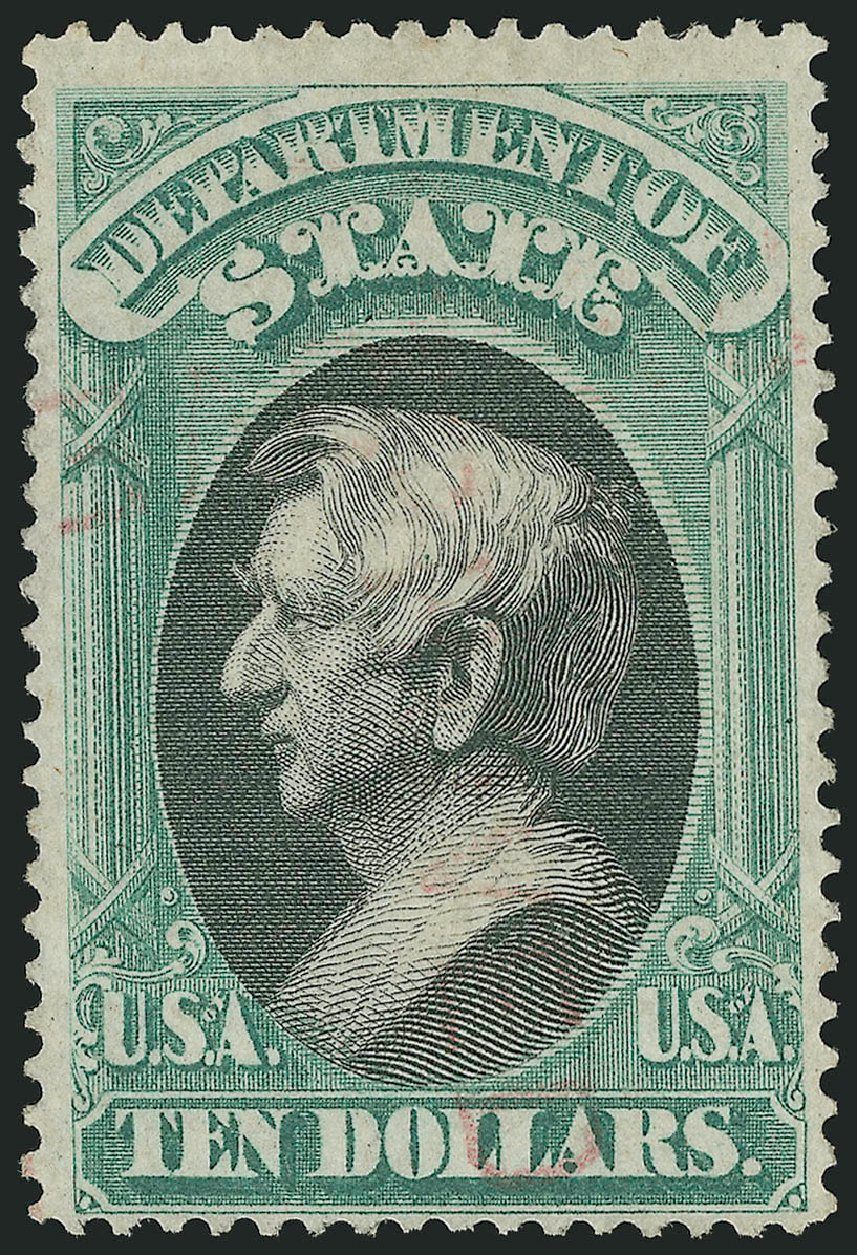 US Stamps Price Scott Catalogue # O70 - US$10.00 1873 State Official. Robert Siegel Auction Galleries, Nov 2014, Sale 1085, Lot 4106