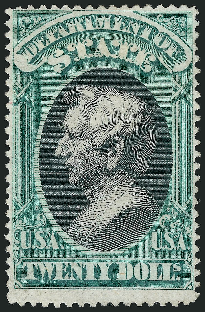 Price of US Stamp Scott Catalog # O71: 1873 US$20.00 State Official. Robert Siegel Auction Galleries, Nov 2014, Sale 1085, Lot 4107