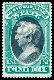 Value of US Stamp Scott Cat. O71: 1873 US$20.00 State Official. Schuyler J. Rumsey Philatelic Auctions, Apr 2015, Sale 60, Lot 2579