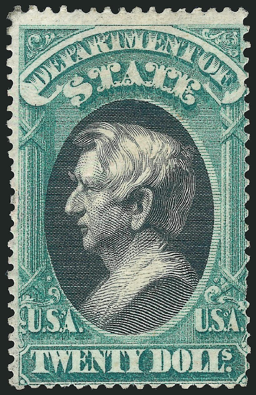 US Stamps Values Scott # O71 - 1873 US$20.00 State Official. Robert Siegel Auction Galleries, Oct 2014, Sale 1082, Lot 509