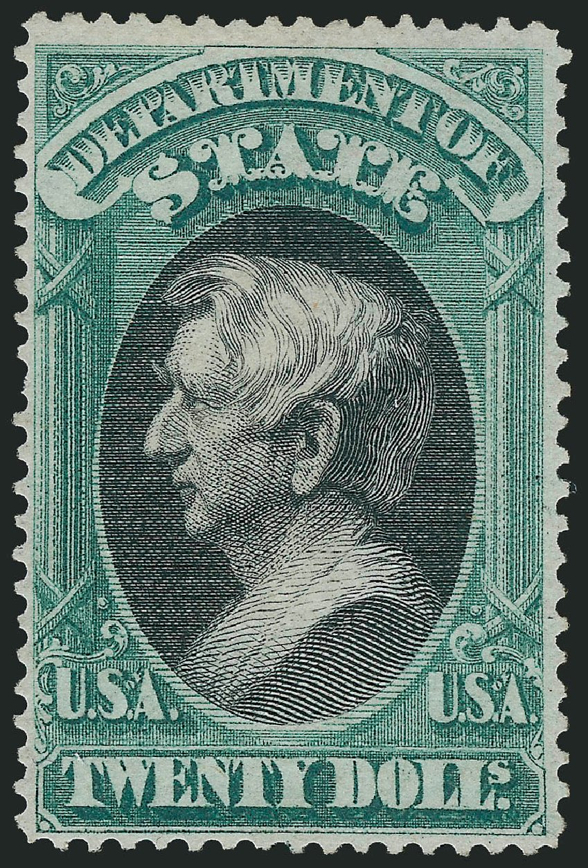 US Stamp Value Scott Catalog # O71 - US$20.00 1873 State Official. Robert Siegel Auction Galleries, Apr 2015, Sale 1096, Lot 899