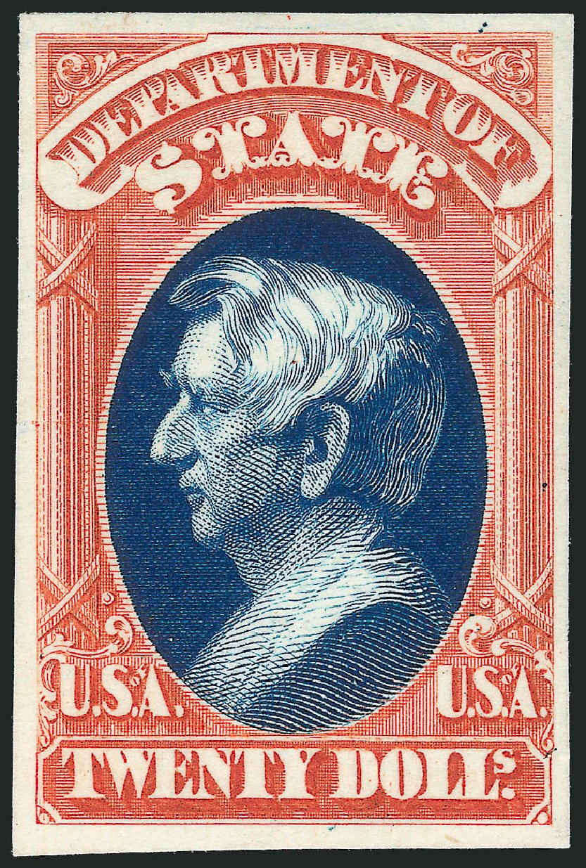 US Stamps Value Scott Catalog #O71: US$20.00 1873 State Official. Robert Siegel Auction Galleries, Oct 2014, Sale 1082, Lot 260