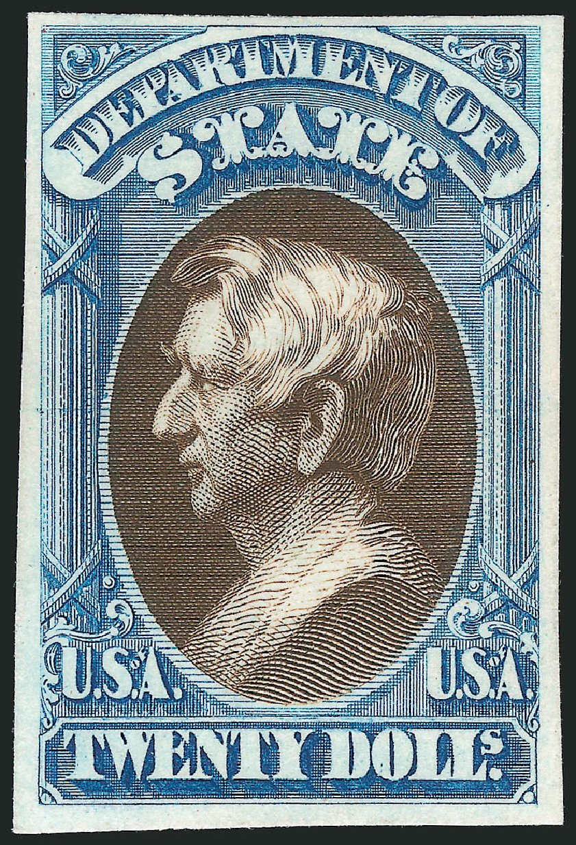 US Stamps Values Scott Catalog # O71: 1873 US$20.00 State Official. Robert Siegel Auction Galleries, Oct 2014, Sale 1082, Lot 264