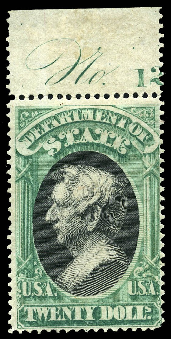 US Stamp Prices Scott Catalogue #O71 - US$20.00 1873 State Official. Matthew Bennett International, May 2014, Sale 350, Lot 695
