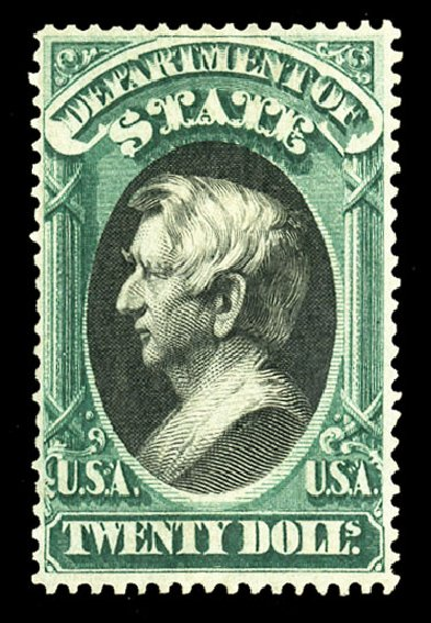 US Stamps Price Scott Cat. # O71 - US$20.00 1873 State Official. Cherrystone Auctions, Jul 2015, Sale 201507, Lot 2225