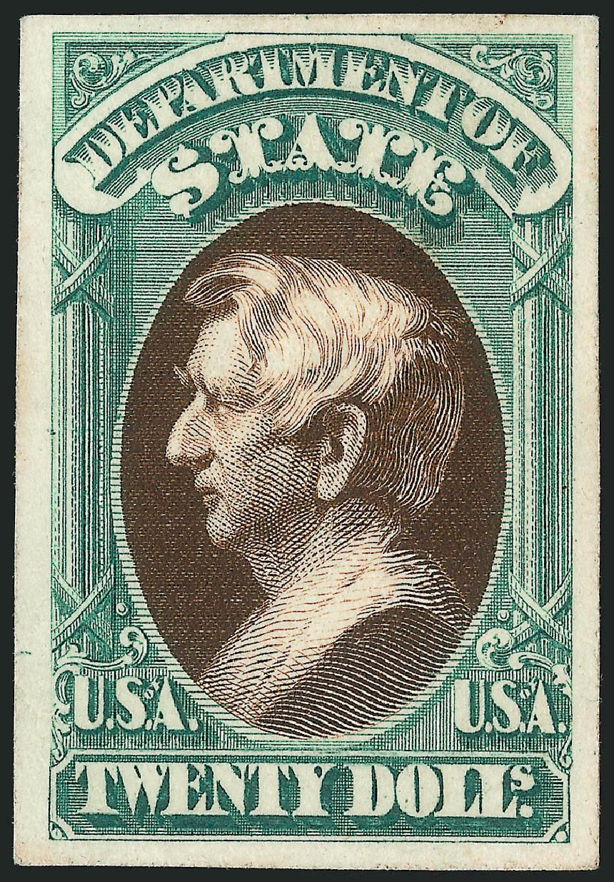 US Stamp Values Scott #O71: 1873 US$20.00 State Official. Robert Siegel Auction Galleries, Oct 2014, Sale 1082, Lot 263
