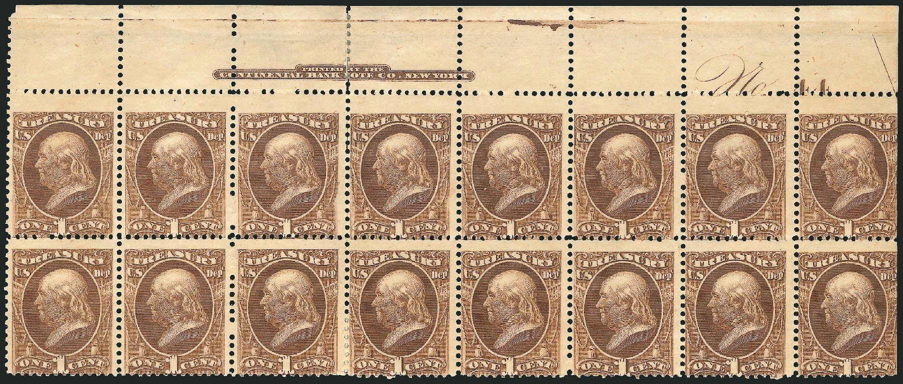 Prices of US Stamp Scott Catalog #O72: 1873 1c Treasury Official. Robert Siegel Auction Galleries, Jul 2014, Sale 1077, Lot 447