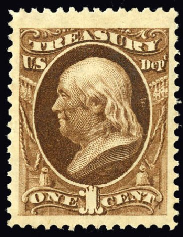 Value of US Stamp Scott Cat. # O72: 1873 1c Treasury Official. Matthew Bennett International, Dec 2008, Sale 330, Lot 1928