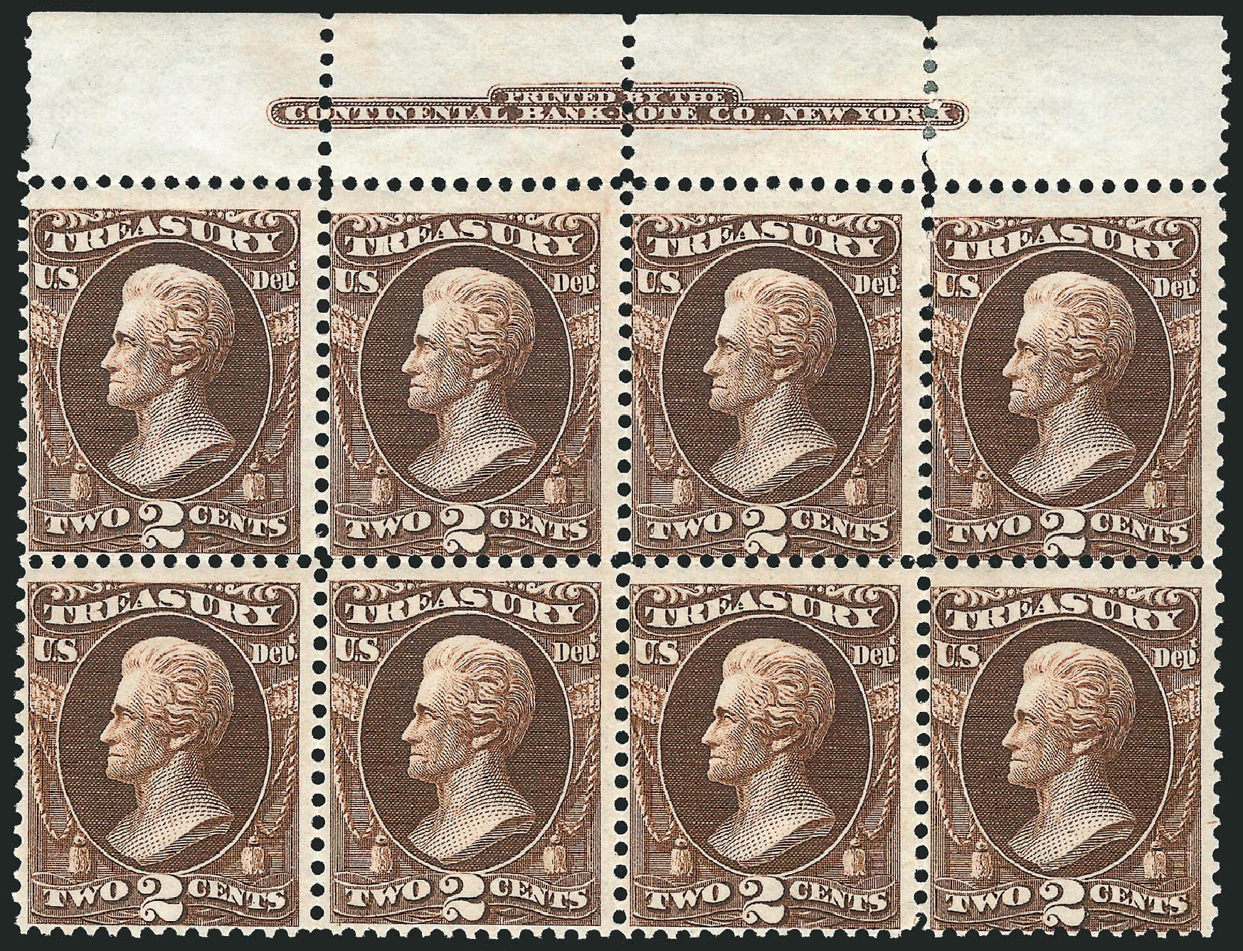 US Stamps Values Scott O73: 1873 2c Treasury Official. Robert Siegel Auction Galleries, Nov 2014, Sale 1085, Lot 4117
