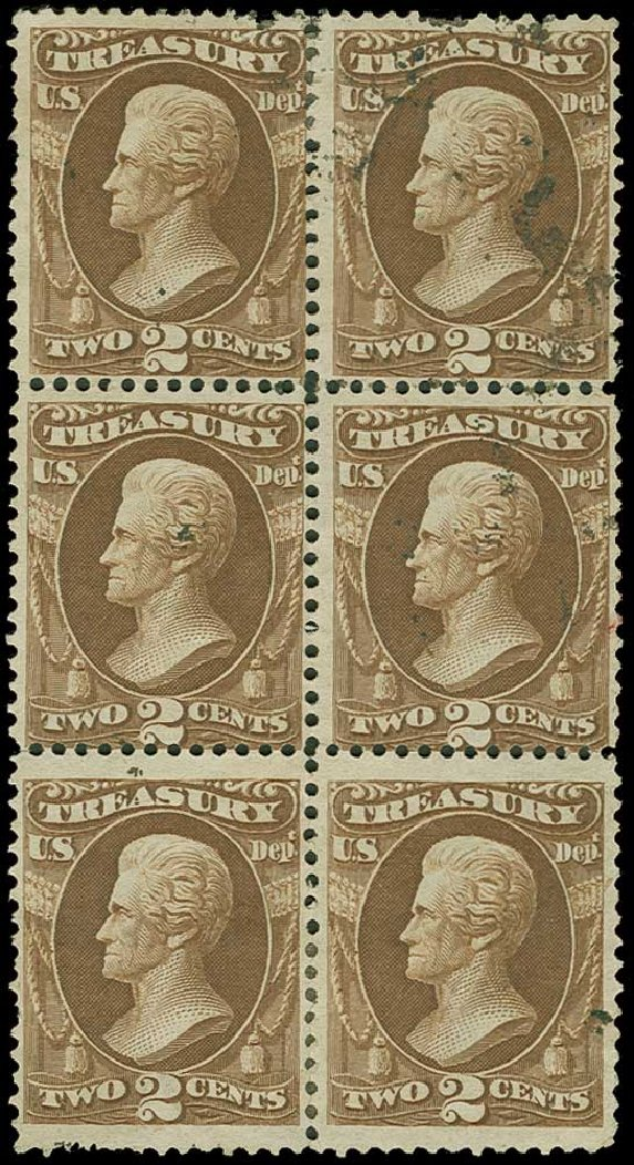US Stamp Values Scott Catalogue O73 - 1873 2c Treasury Official. H.R. Harmer, Jun 2015, Sale 3007, Lot 3492