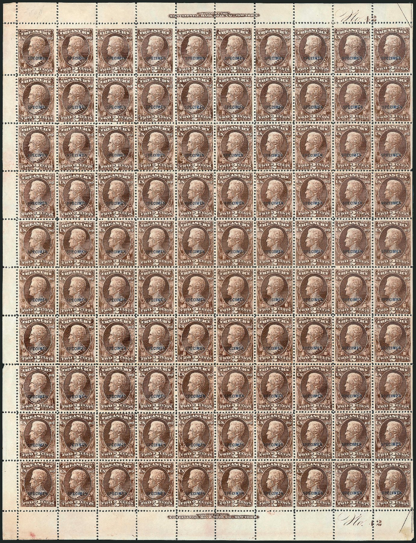 US Stamp Values Scott Catalogue # O73: 1873 2c Treasury Official. Robert Siegel Auction Galleries, Mar 2015, Sale 1095, Lot 643