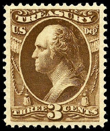 US Stamps Values Scott Catalog # O74 - 1873 3c Treasury Official. Matthew Bennett International, May 2008, Sale 327, Lot 301