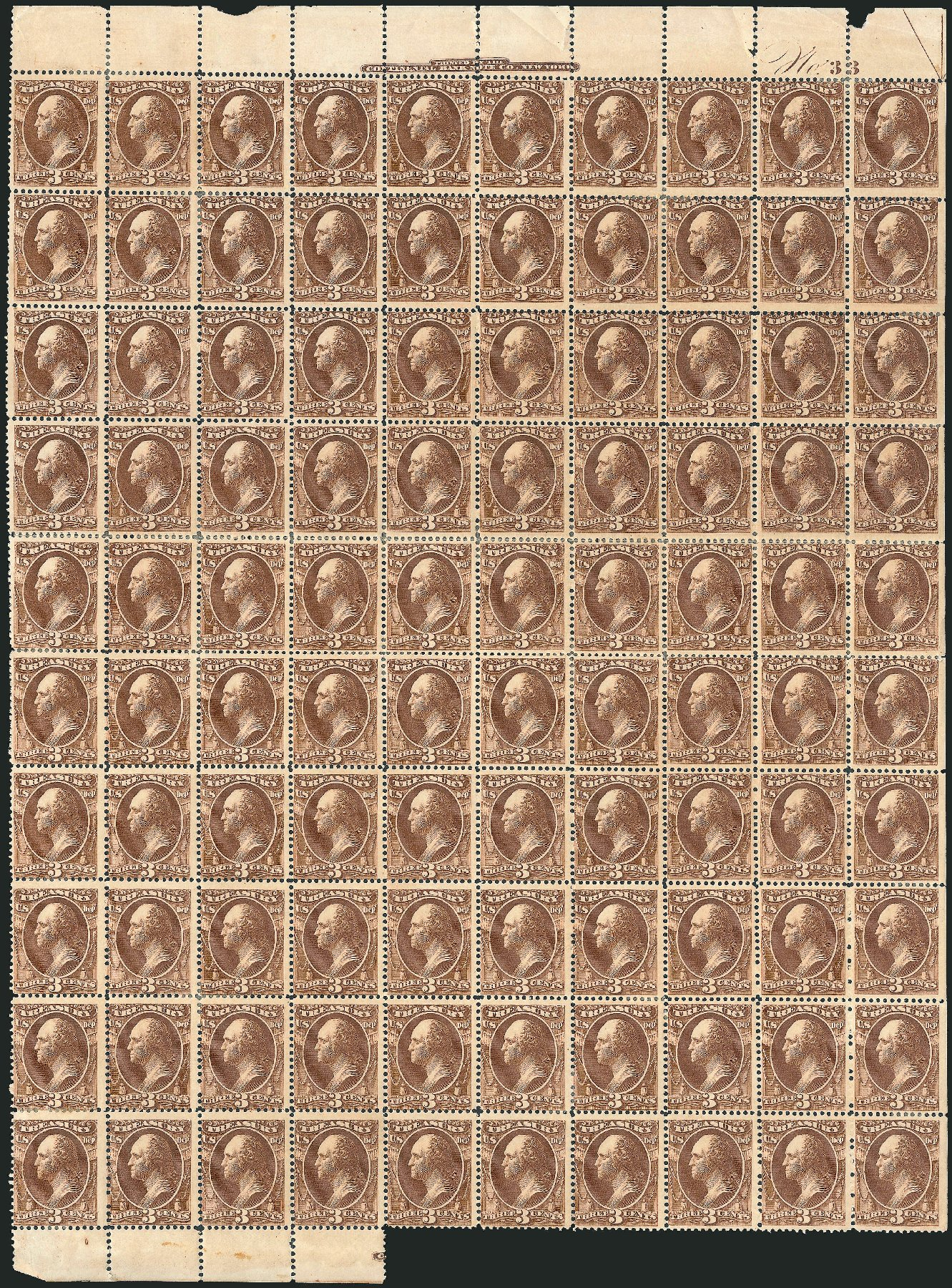 Cost of US Stamps Scott Catalogue #O74: 3c 1873 Treasury Official. Robert Siegel Auction Galleries, Oct 2011, Sale 1014, Lot 2365