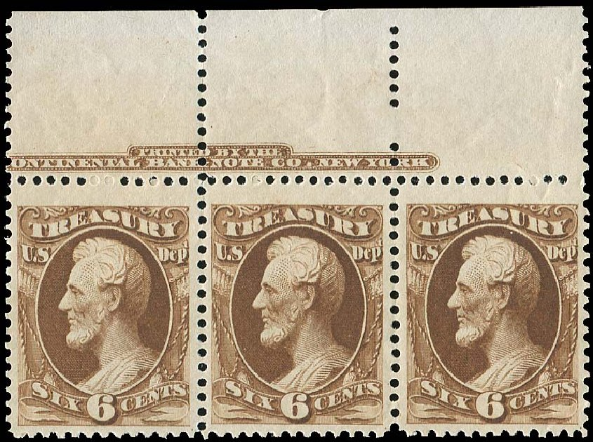 Cost of US Stamps Scott Cat. #O75 - 6c 1873 Treasury Official. Regency-Superior, Jan 2015, Sale 109, Lot 1557