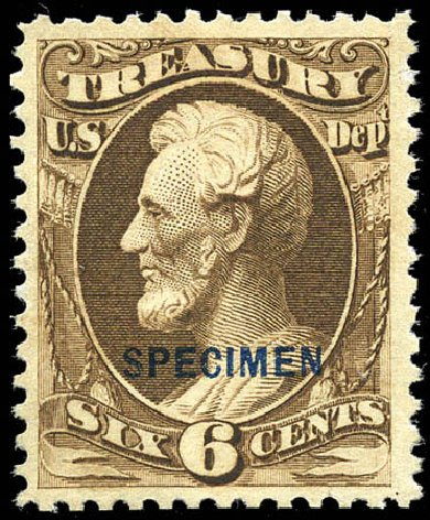 US Stamps Value Scott Cat. O75 - 6c 1873 Treasury Official. Matthew Bennett International, Sep 2011, Sale 338, Lot 2060