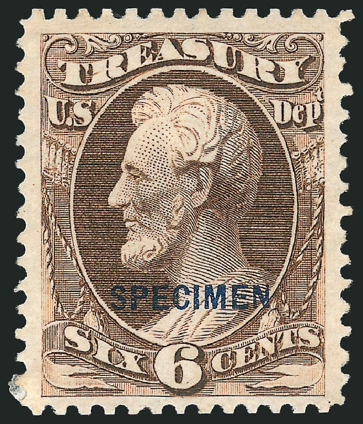 Costs of US Stamp Scott Cat. # O75 - 1873 6c Treasury Official. Robert Siegel Auction Galleries, Mar 2015, Sale 1095, Lot 632