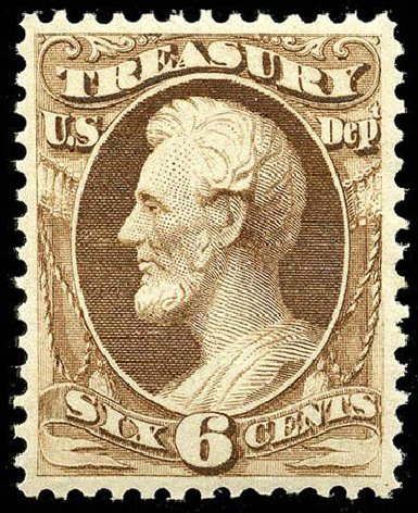 US Stamps Price Scott Catalog O75 - 1873 6c Treasury Official. Matthew Bennett International, Apr 2008, Sale 326, Lot 696
