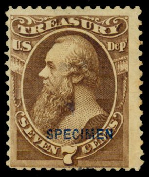 Price of US Stamps Scott Cat. #O76: 7c 1873 Treasury Official. Daniel Kelleher Auctions, Dec 2013, Sale 640, Lot 620