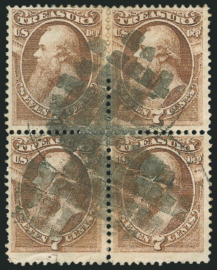 US Stamps Value Scott Catalogue #O76: 7c 1873 Treasury Official. Robert Siegel Auction Galleries, Nov 2014, Sale 1085, Lot 4124