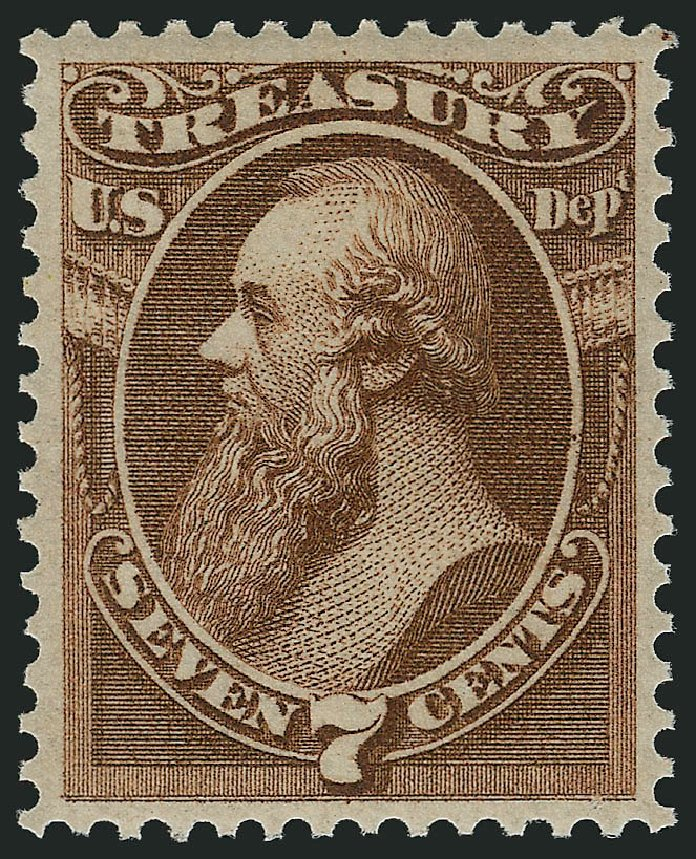 US Stamps Value Scott Catalog O76 - 1873 7c Treasury Official. Robert Siegel Auction Galleries, Feb 2015, Sale 1092, Lot 1464