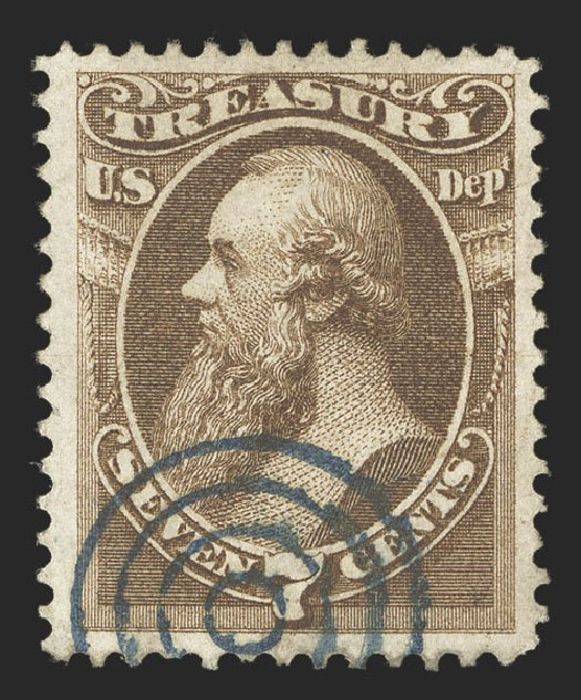 US Stamp Value Scott Catalogue #O76: 1873 7c Treasury Official. Spink Shreves Galleries, Jul 2012, Sale 140, Lot 384