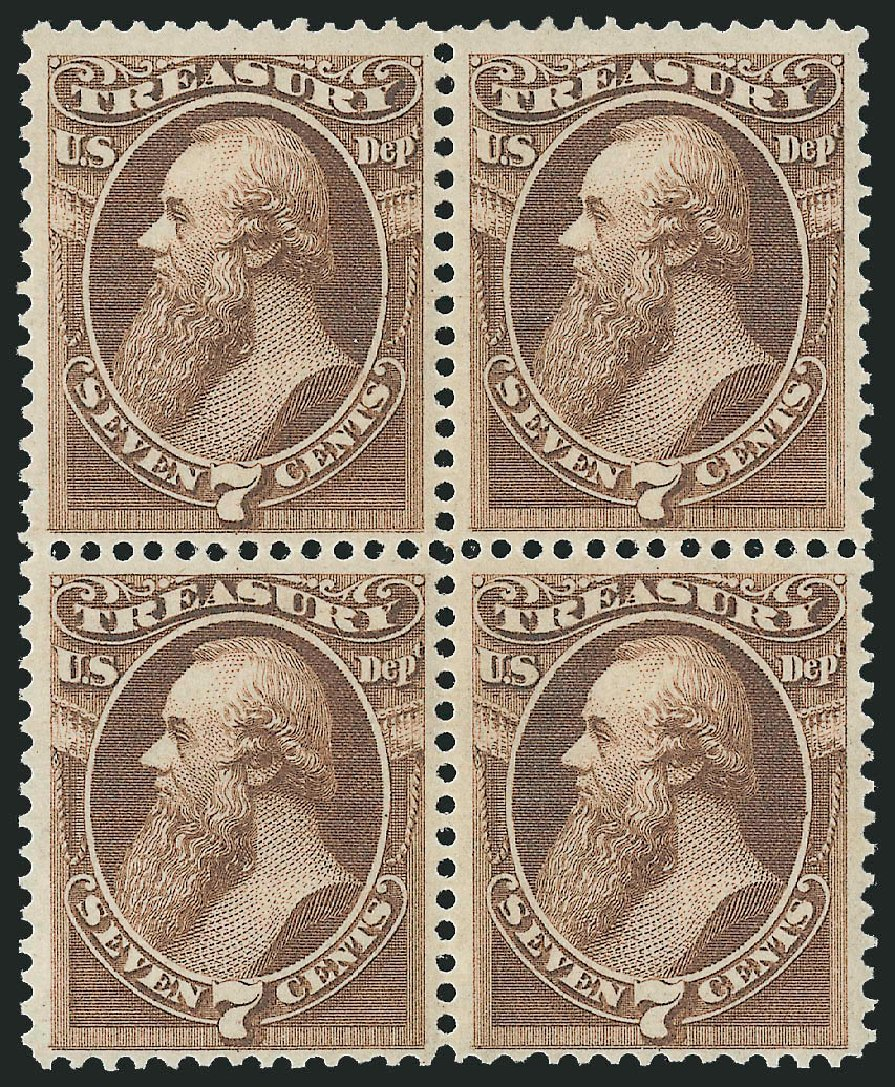 Cost of US Stamp Scott Cat. O76 - 1873 7c Treasury Official. Robert Siegel Auction Galleries, Nov 2014, Sale 1085, Lot 4123