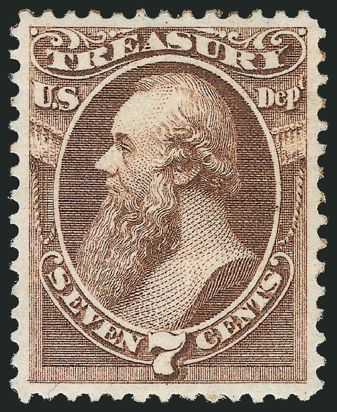 US Stamps Prices Scott O76: 1873 7c Treasury Official. Robert Siegel Auction Galleries, Jun 2012, Sale 1026, Lot 1546