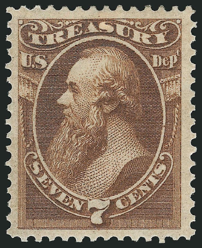 US Stamp Value Scott Catalogue # O76 - 1873 7c Treasury Official. Robert Siegel Auction Galleries, Jun 2015, Sale 1100, Lot 96