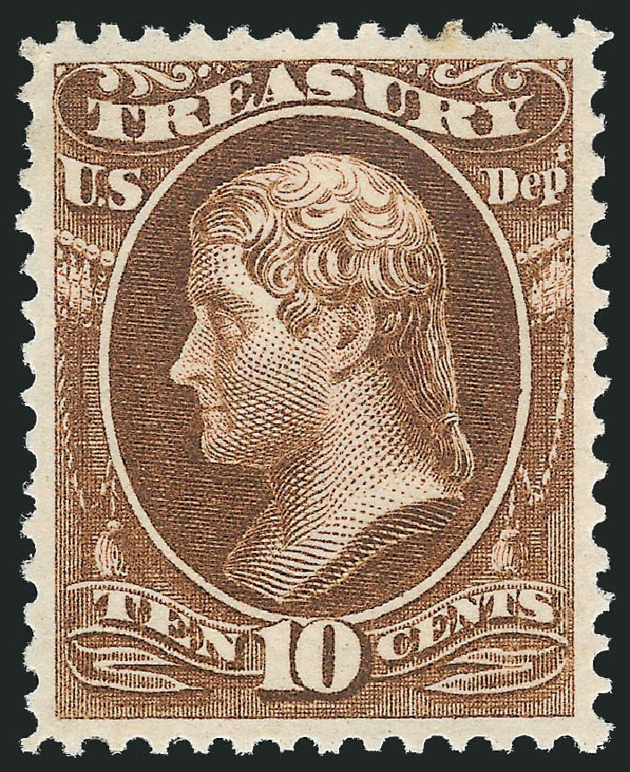 Values of US Stamp Scott Catalogue #O77: 1873 10c Treasury Official. Robert Siegel Auction Galleries, Oct 2012, Sale 1033, Lot 4317