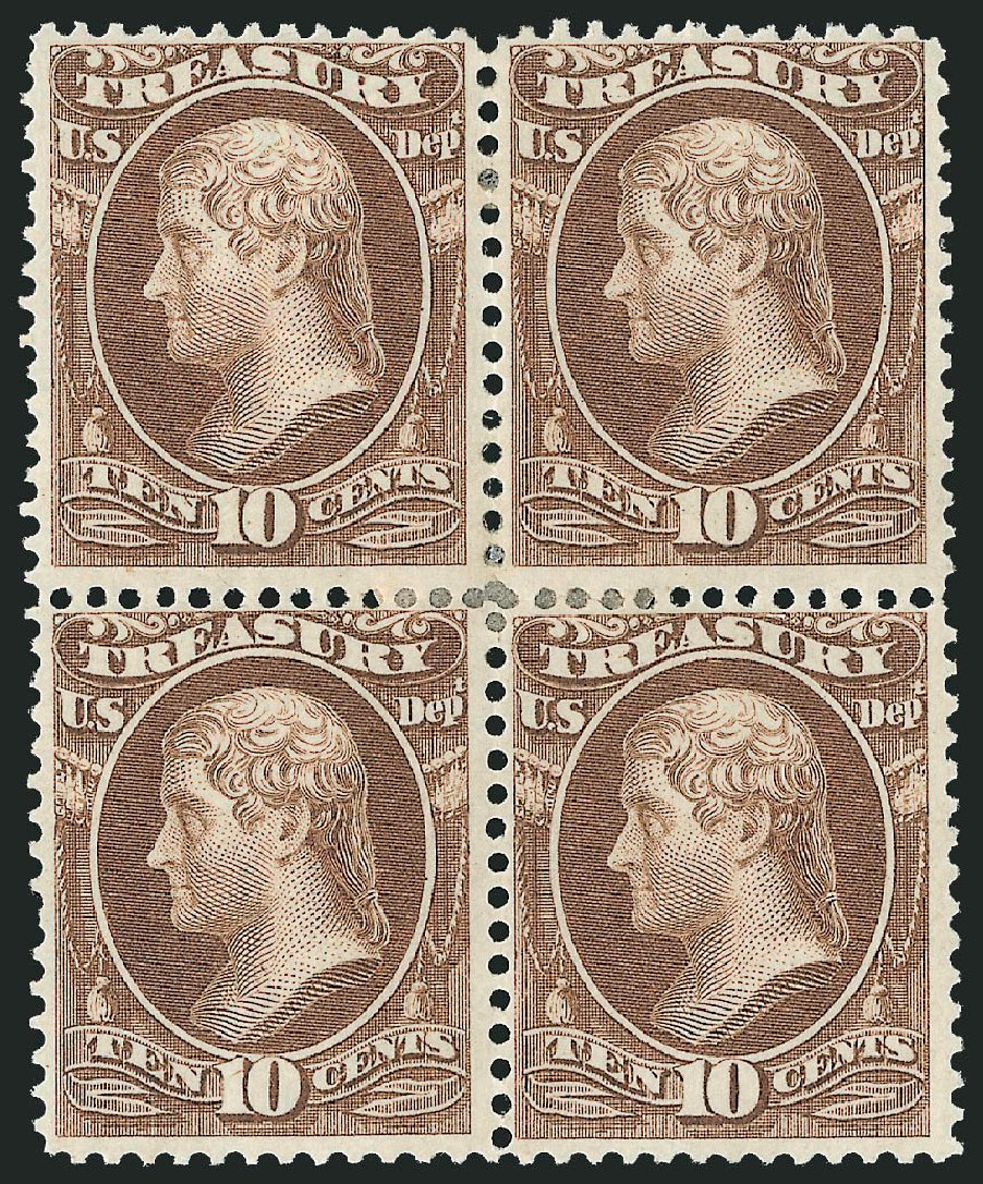 US Stamps Values Scott Cat. O77 - 1873 10c Treasury Official. Robert Siegel Auction Galleries, Jun 2015, Sale 1100, Lot 97