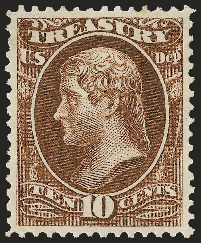 Value of US Stamp Scott Catalogue O77 - 1873 10c Treasury Official. Robert Siegel Auction Galleries, Dec 2008, Sale 967, Lot 5157