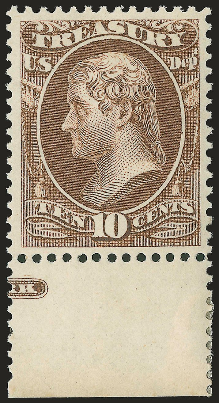 Value of US Stamps Scott Catalogue # O77: 10c 1873 Treasury Official. Robert Siegel Auction Galleries, Jun 2009, Sale 975, Lot 2237