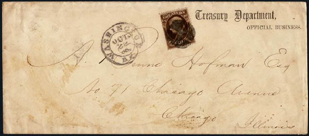 US Stamps Values Scott Catalogue # O77 - 10c 1873 Treasury Official. Harmer-Schau Auction Galleries, Jan 2014, Sale 100, Lot 694
