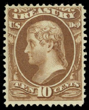 US Stamps Values Scott Catalogue O77: 10c 1873 Treasury Official. Daniel Kelleher Auctions, Jan 2015, Sale 663, Lot 2164