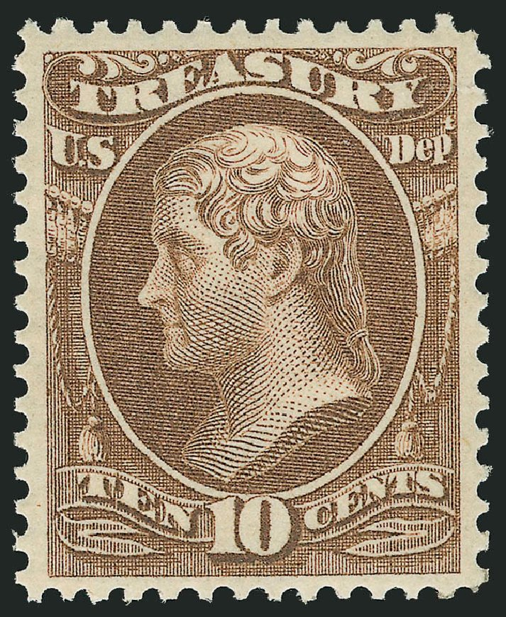 US Stamps Values Scott Catalog # O77: 1873 10c Treasury Official. Robert Siegel Auction Galleries, Feb 2015, Sale 1092, Lot 1465