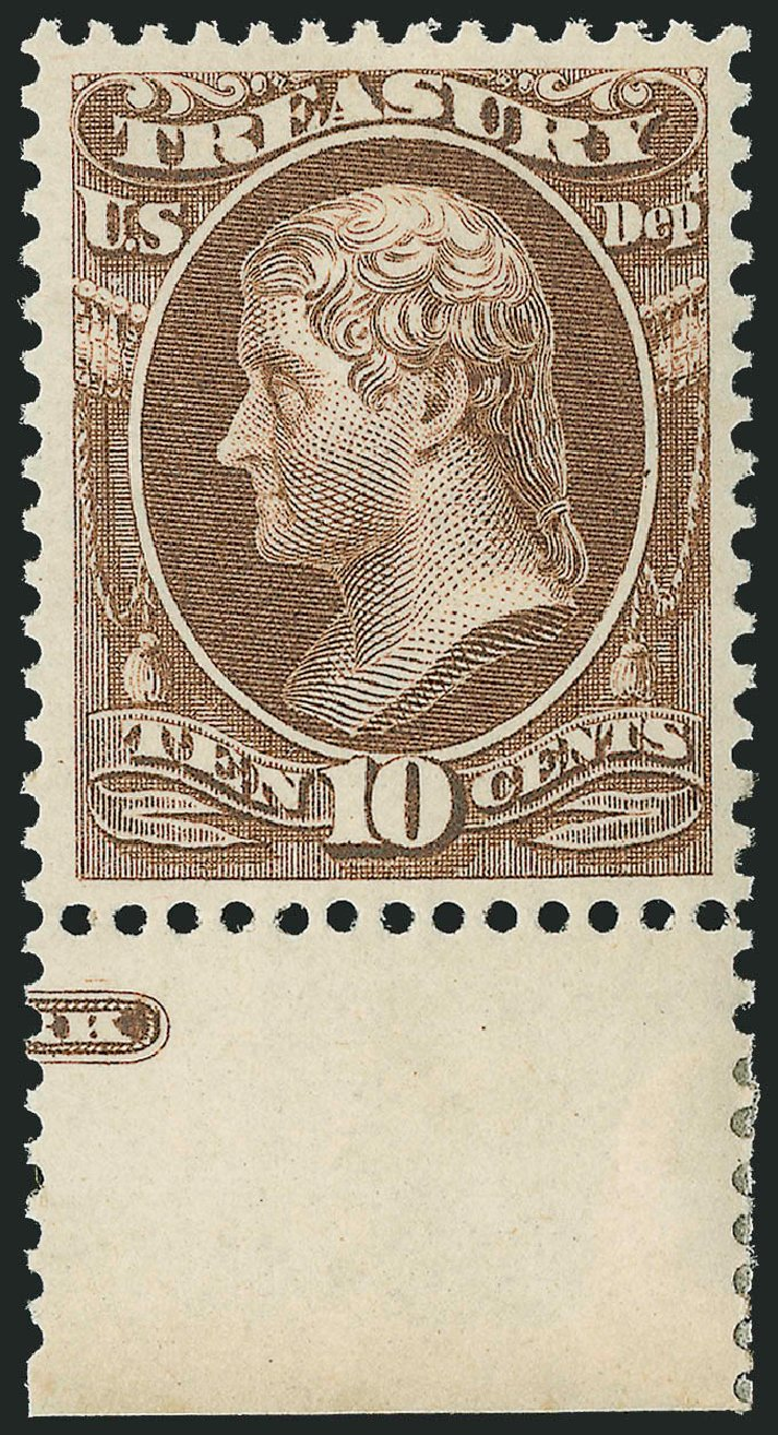 US Stamps Price Scott #O77: 1873 10c Treasury Official. Robert Siegel Auction Galleries, Oct 2011, Sale 1014, Lot 2366