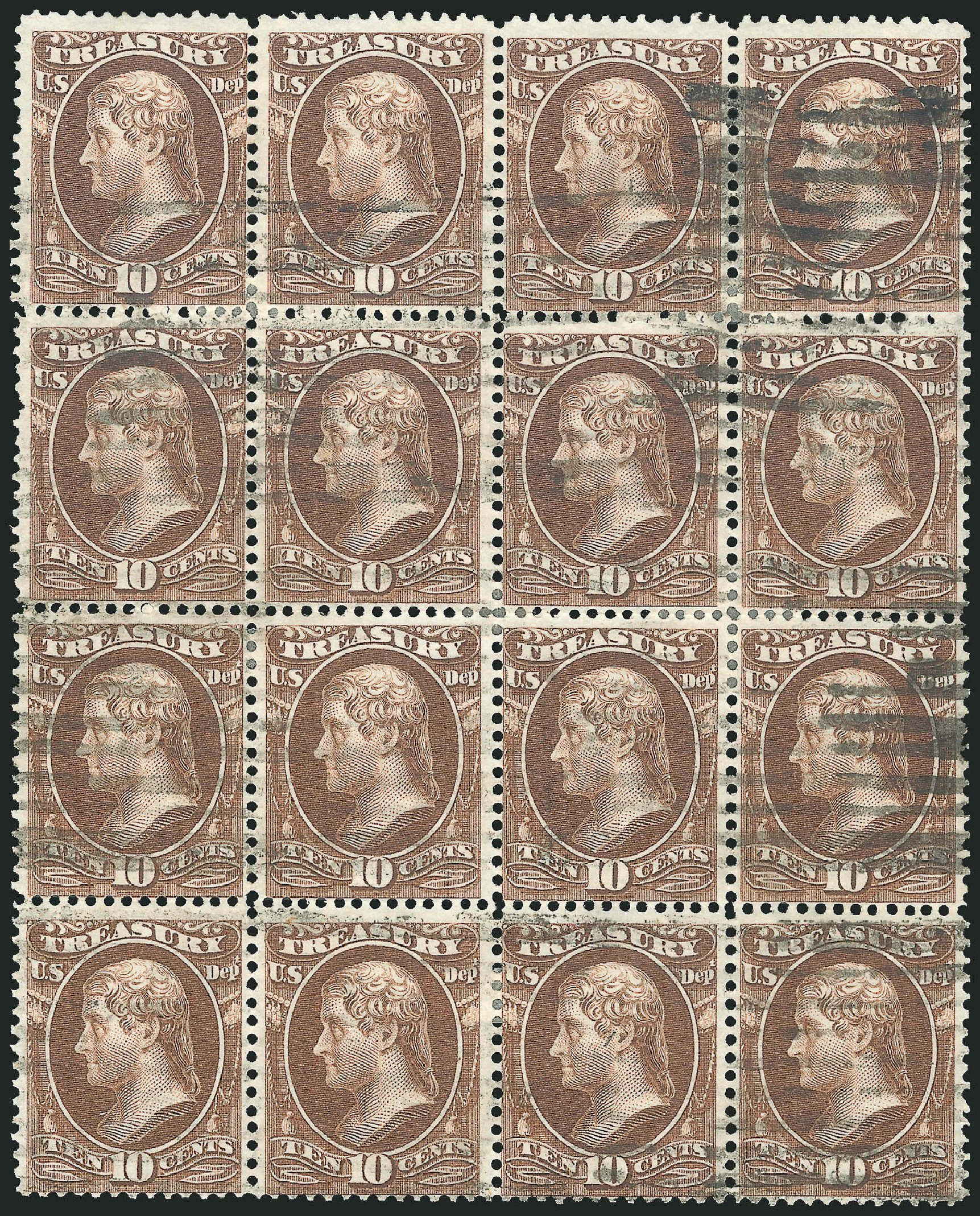 Value of US Stamps Scott Cat. # O77: 1873 10c Treasury Official. Robert Siegel Auction Galleries, Nov 2014, Sale 1085, Lot 4126