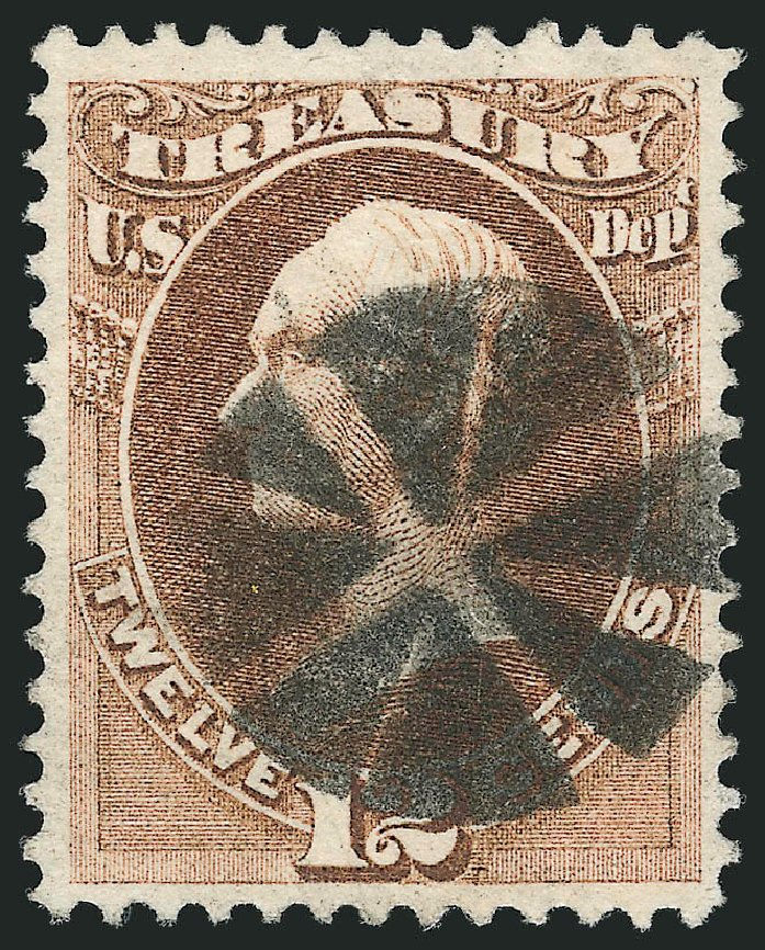US Stamp Values Scott Catalogue # O78: 12c 1873 Treasury Official. Robert Siegel Auction Galleries, Mar 2012, Sale 1019, Lot 972