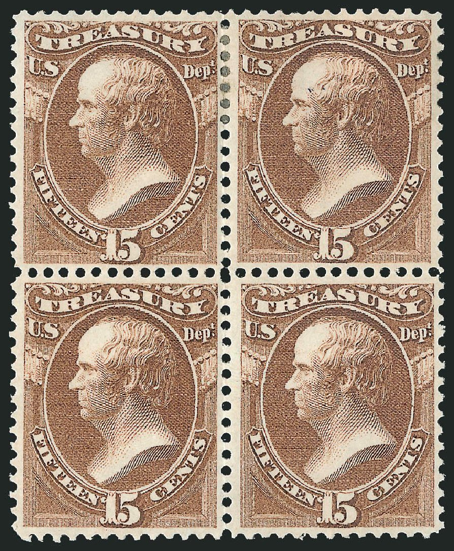 Values of US Stamp Scott Catalog # O79: 15c 1873 Treasury Official. Robert Siegel Auction Galleries, Nov 2014, Sale 1085, Lot 4128
