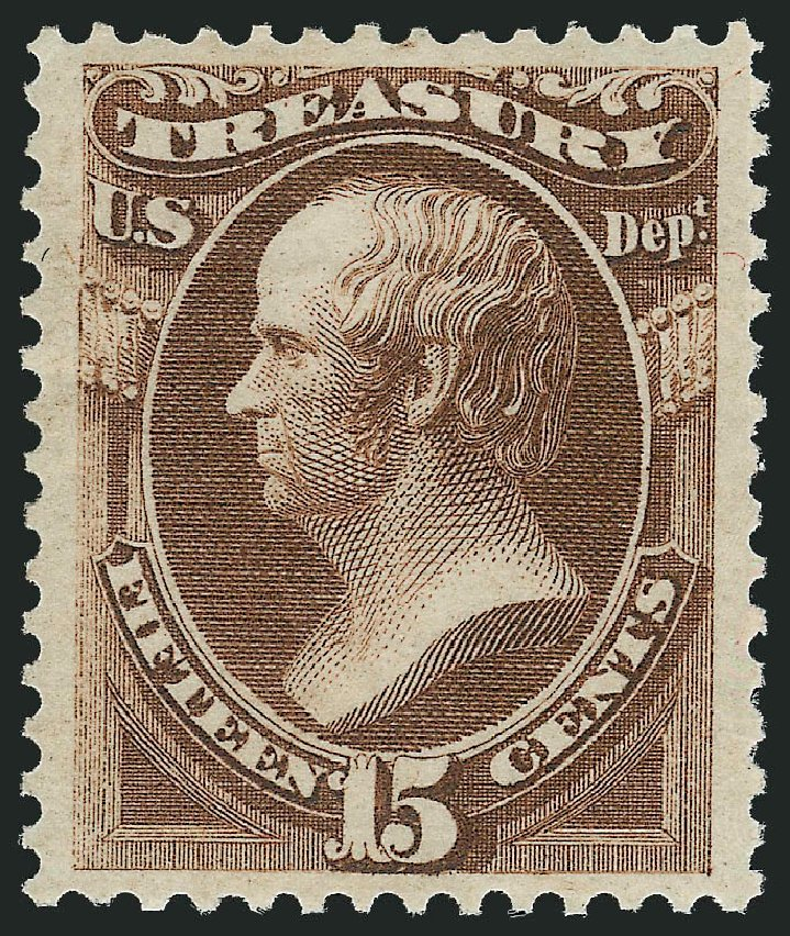 US Stamp Values Scott Cat. O79: 15c 1873 Treasury Official. Robert Siegel Auction Galleries, Jul 2013, Sale 1050, Lot 772